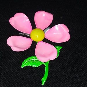 Pink 70s Flower Power Brooch